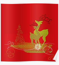 Winter Couple Deer Poster