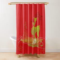 Winter Couple Deer Shower Curtain