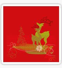 Winter Couple Deer Sticker