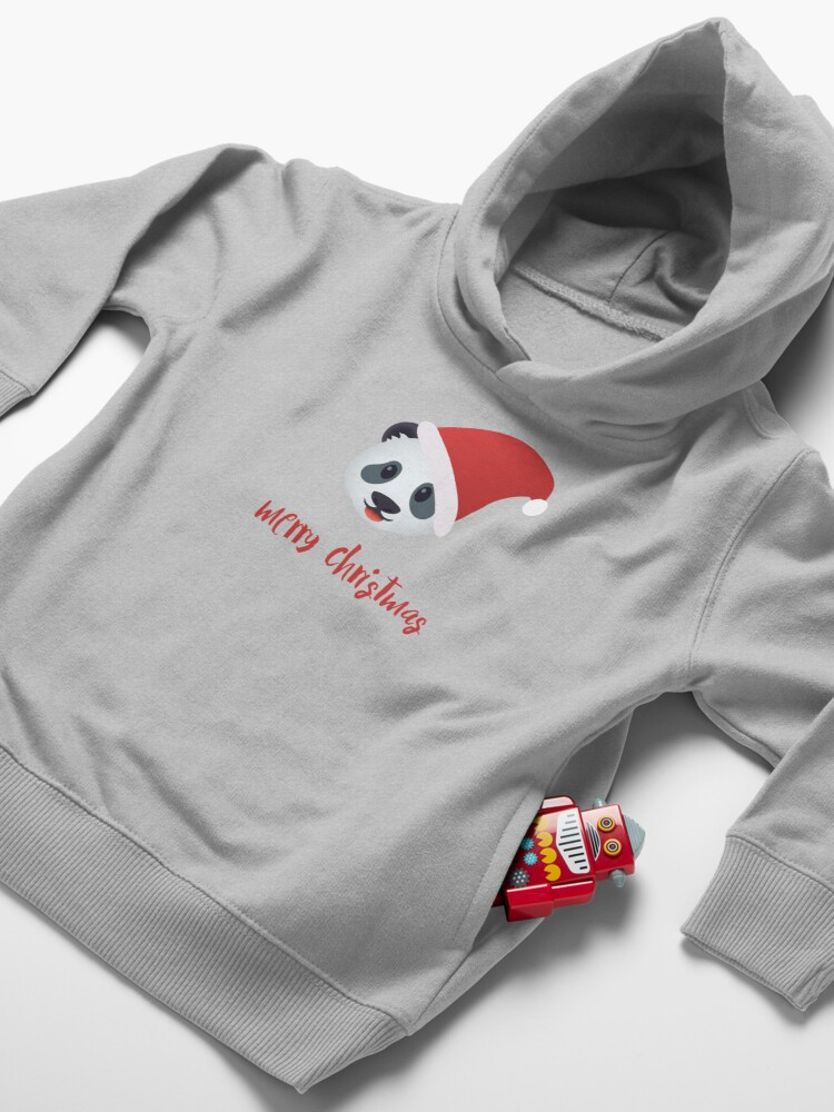 Alternate view of Have a panda merry christmas Toddler Pullover Hoodie