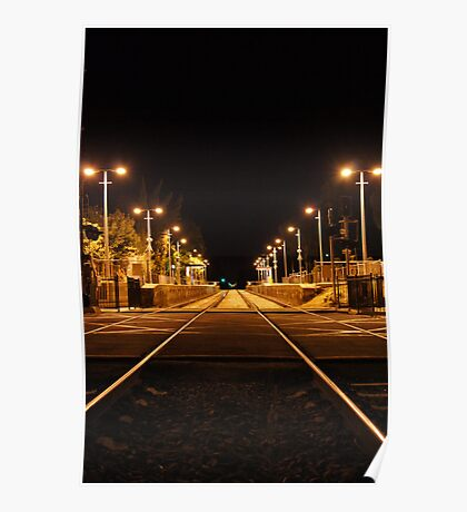 Railway Line at night Poster