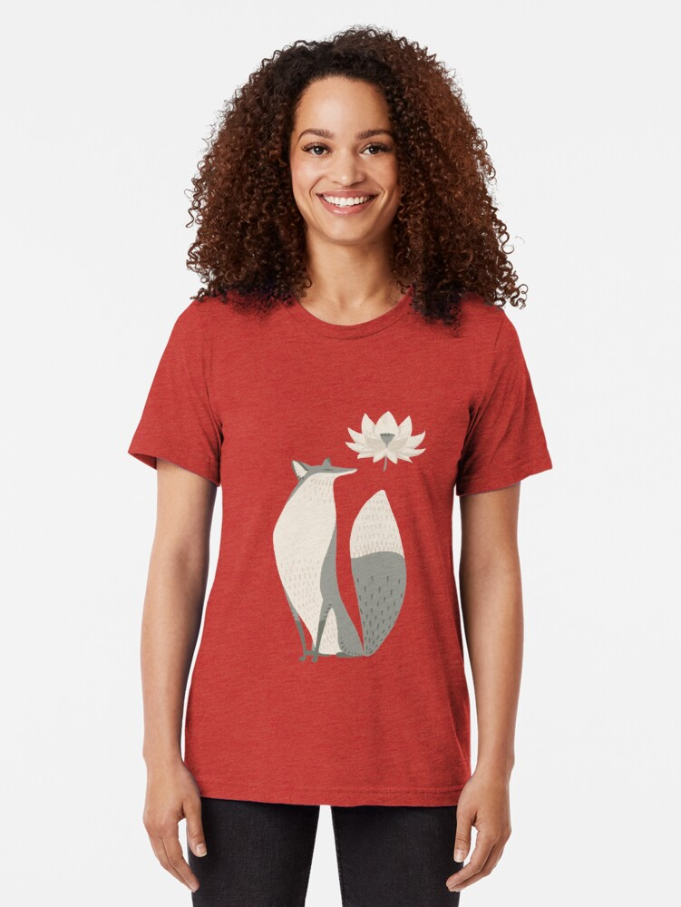 Alternate view of The Fox and the Lotus Flower Tri-blend T-Shirt