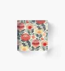 Protea Chintz - Grey & Red Acrylic Block