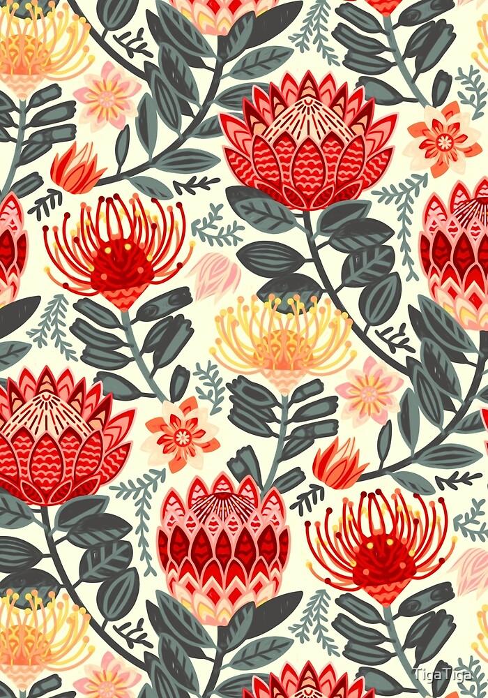 Protea Chintz - Grey & Red by TigaTiga