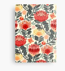 Protea Chintz - Grey & Red Metal Print