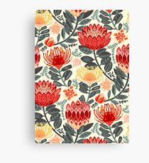 Protea Chintz - Grey & Red Canvas Print