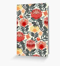 Protea Chintz - Grey & Red Greeting Card