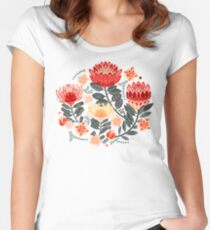 Protea Chintz - Grey & Red Fitted Scoop T-Shirt