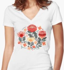 Protea Chintz - Grey & Red Fitted V-Neck T-Shirt