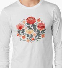 Protea Chintz - Grey & Red Long Sleeve T-Shirt