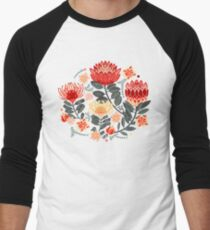 Protea Chintz - Grey & Red Baseball ¾ Sleeve T-Shirt