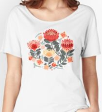 Protea Chintz - Grey & Red Relaxed Fit T-Shirt