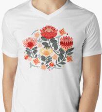 Protea Chintz - Grey & Red V-Neck T-Shirt