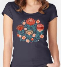 Protea Chintz - Navy Fitted Scoop T-Shirt