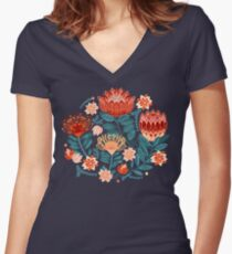 Protea Chintz - Navy Fitted V-Neck T-Shirt