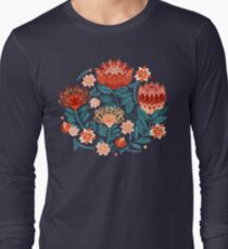 Protea Chintz - Navy Long Sleeve T-Shirt