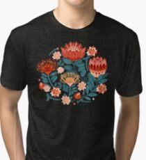 Protea Chintz - Navy Tri-blend T-Shirt