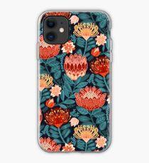 Protea Chintz - Navy iPhone Case