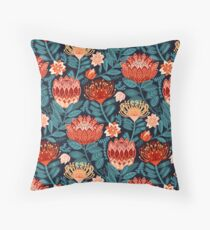 Protea Chintz - Navy Throw Pillow