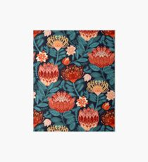 Protea Chintz - Navy Art Board Print