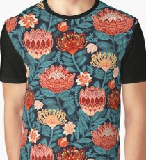 Protea Chintz - Navy Graphic T-Shirt