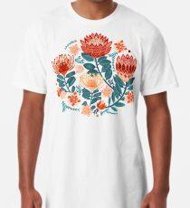 Protea Chintz - Navy Long T-Shirt