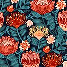 Protea Chintz - Navy by TigaTiga