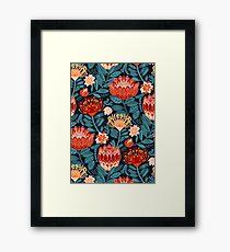 Protea Chintz - Navy Framed Print