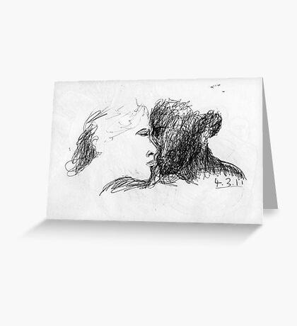 the kiss -(040311)- black biro pen/A4 notepad Greeting Card