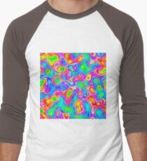 Random virtual color pixel abstraction Baseball ¾ Sleeve T-Shirt