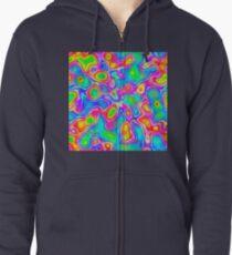 Random virtual color pixel abstraction Zipped Hoodie