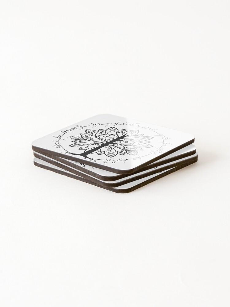 Alternate view of  Minimalist White Tree Coasters (Set of 4)
