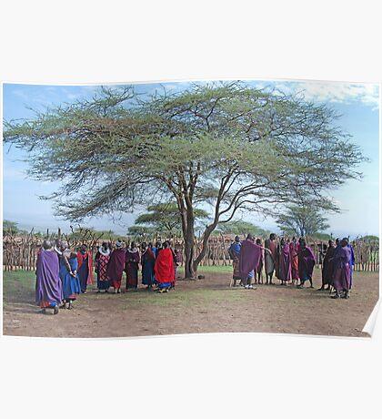 Maasai, Villagers,Tanzania, Africa Poster