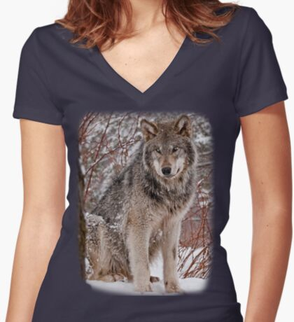 Wolf Shirt - 3 Women's Fitted V-Neck T-Shirt