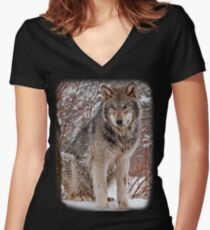 Wolf Shirt - 3 Women's Fitted V-Neck T-Shirt