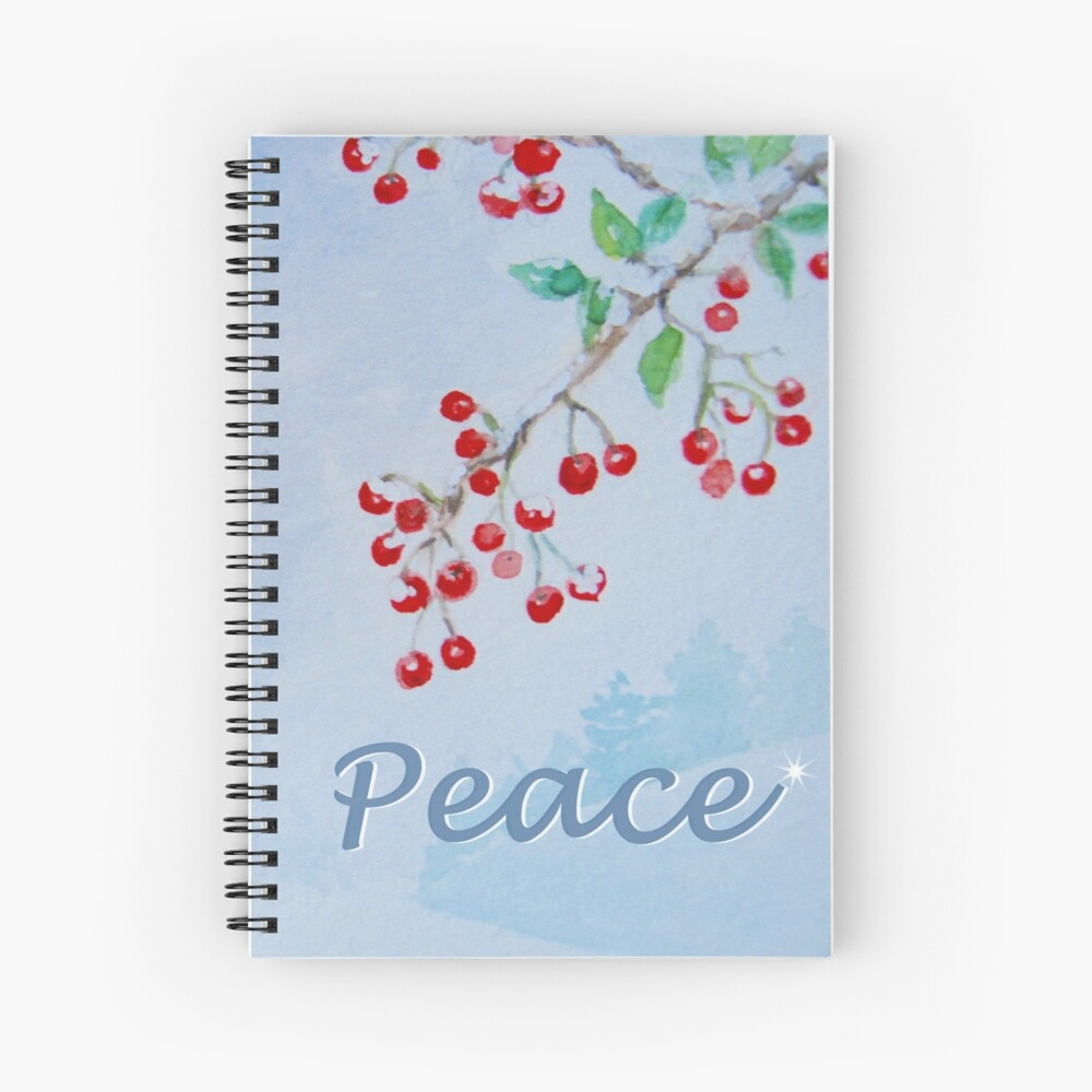 Peace - Snow on the Berries Spiral Notebook