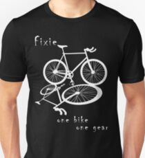 Fixie - one bike one gear (white) Slim Fit T-Shirt