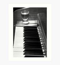 Piano Whiskey Row Black and White Print Art Print