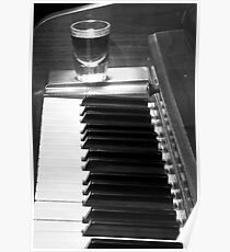 Piano Whiskey Row Black and White Print Poster