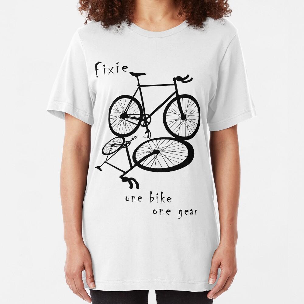 Fixie - one bike one gear (black) Slim Fit T-Shirt