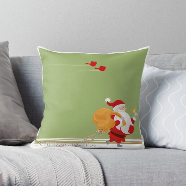 Santa and small red birds Throw Pillow