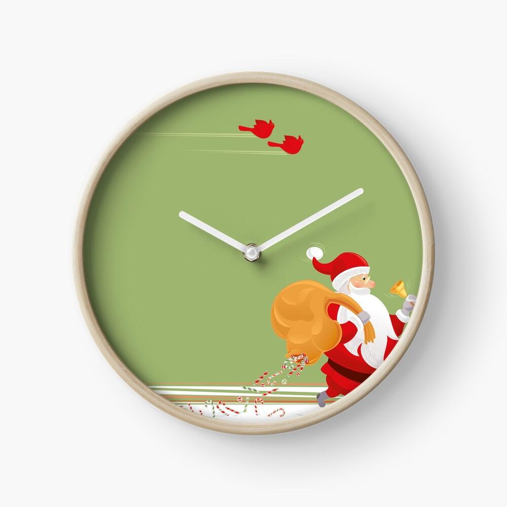 Santa and small red birds Clock