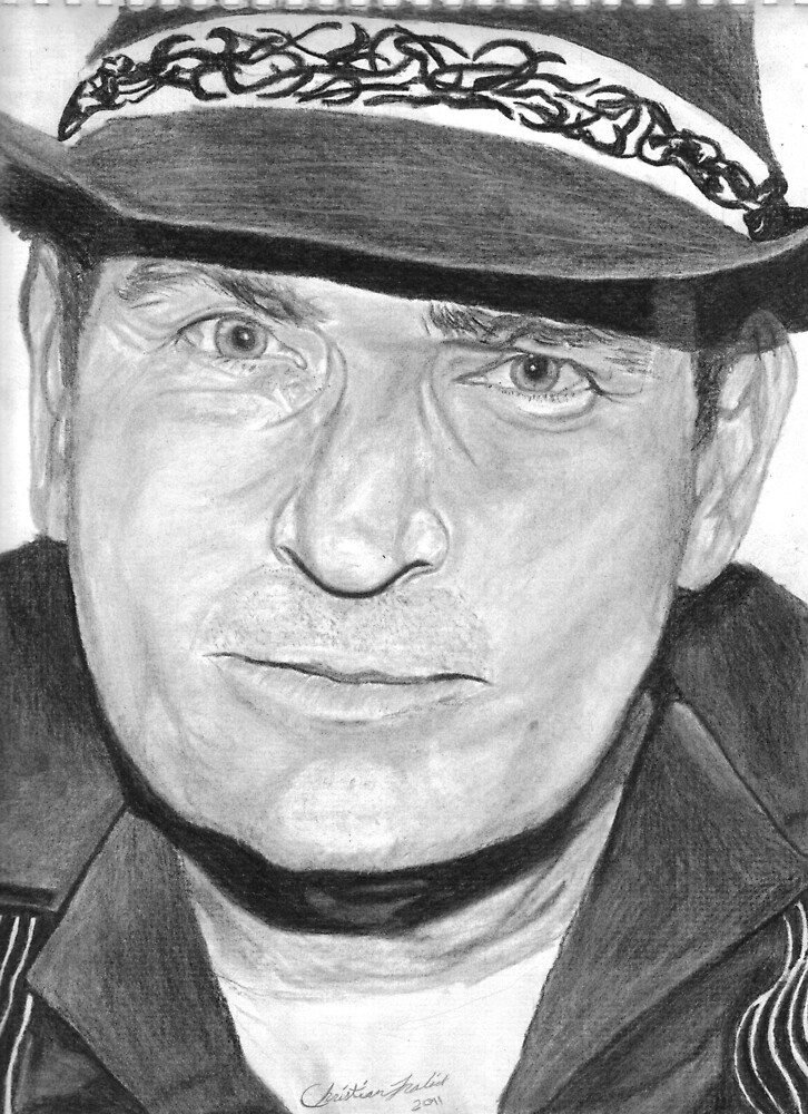 Charlie Sheen Charcoal Portrait by Christian Fralick