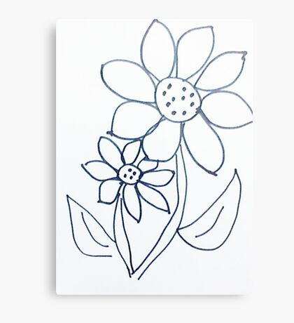 Crazy Daisey sketch, from series,Large and Small Metal Print