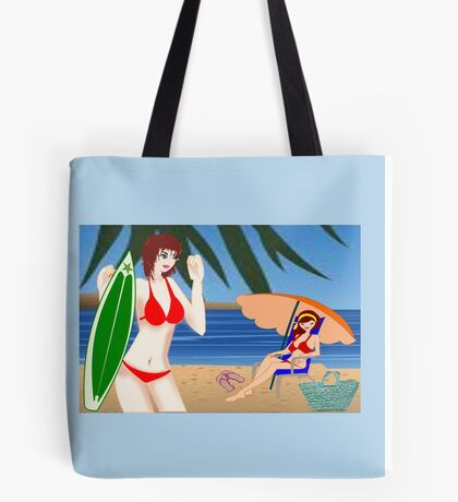 Summer sport Surfing (2309 Views) Tote Bag