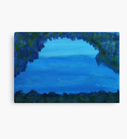 Rock Arch Looking out to Sea, watercolor Canvas Print