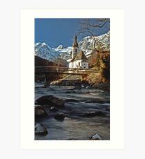 Ramsau Chapel, December 1985 Art Print