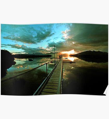 Lake Te Anau at sunset. South Island, New Zealand. (6) Poster