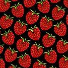 Raspberry Pattern - Black by Kelly  Gilleran