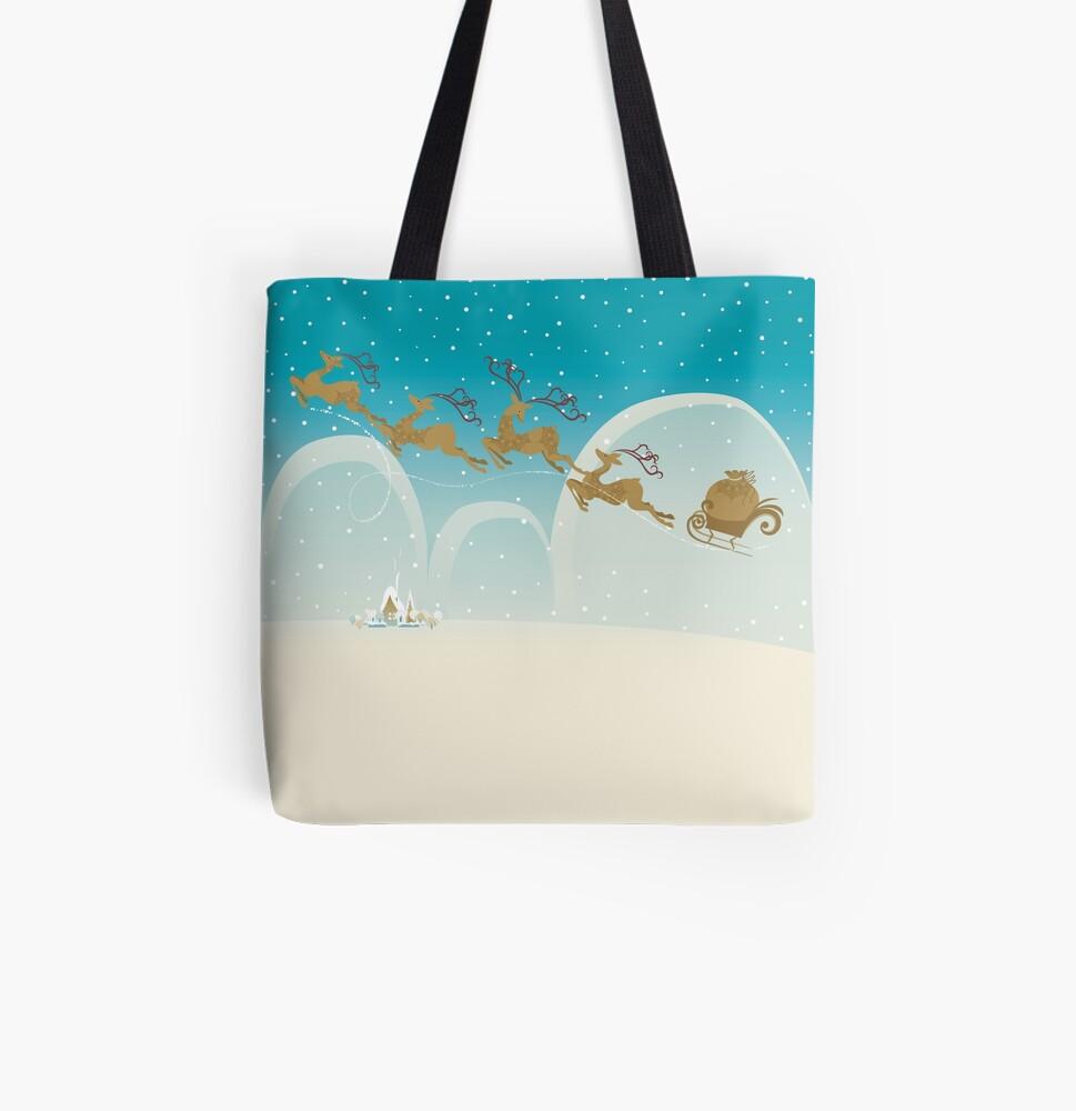 Santa Claus Deer All Over Print Tote Bag